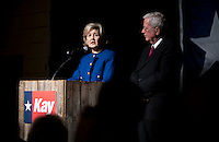 US Senator Kay Bailey Hutchison (cq) gives a concession speech ending her run for Governor, with her husband Ray Hutchison (cq), at Eddie Deen's Ranch near downtown Dallas, Texas, Tuesday, March 2, 2010. Hutchison was hoping to get enough votes during the Texas primaries to force a run-off election against current Governor Rick Perry (cq)...PHOTO/ MATT NAGER
