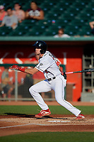 Lansing Lugnuts LJ Talley (25) at bat during a Midwest League game against the Burlington Bees on July 18, 2019 at Cooley Law School Stadium in Lansing, Michigan.  Lansing defeated Burlington 5-4.  (Mike Janes/Four Seam Images)