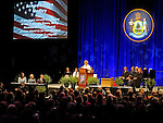 Ann LePage speaking at the second inauguration of her husband, Governor Paul R. LePage, Augusta Civic Center, Augusta, Maine, USA, January 7, 2015.