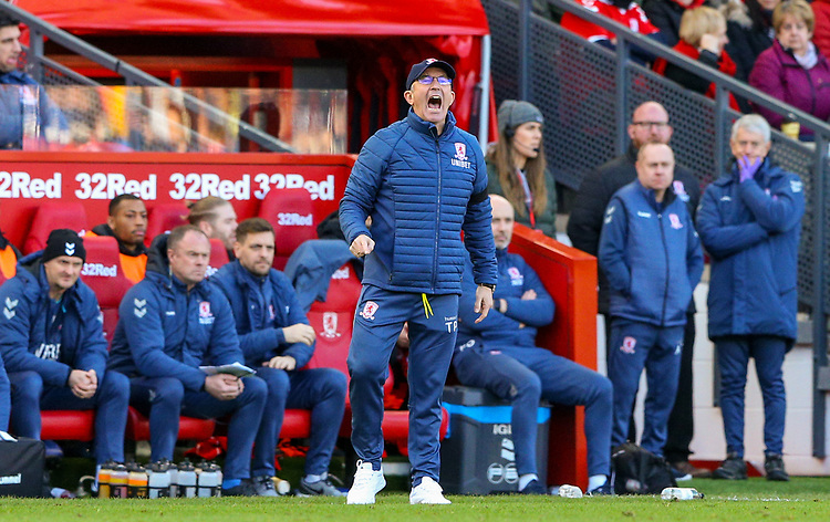 Middlesbrough manager Tony Pulis shouts instructions to his team from the technical area<br /> <br /> Photographer Alex Dodd/CameraSport<br /> <br /> The EFL Sky Bet Championship - Middlesbrough v Leeds United - Saturday 9th February 2019 - Riverside Stadium - Middlesbrough<br /> <br /> World Copyright &copy; 2019 CameraSport. All rights reserved. 43 Linden Ave. Countesthorpe. Leicester. England. LE8 5PG - Tel: +44 (0) 116 277 4147 - admin@camerasport.com - www.camerasport.com