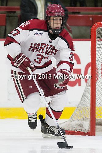 Desmond Bergin (Harvard - 37) - The Harvard University Crimson defeated the visiting Bentley University Falcons 3-0 on Saturday, October 26, 2013, in Harvard's season opener at Bright-Landry Hockey Center in Cambridge, Massachusetts.