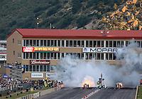 Jul. 19, 2014; Morrison, CO, USA; NHRA jet cars during qualifying for the Mile High Nationals at Bandimere Speedway. Mandatory Credit: Mark J. Rebilas-