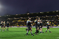 Players of La Rochelle celebrate after defeating Harlequins during the Champions Cup match between La Rochelle and Harlequins on January 21, 2018 in La Rochelle, France. (Photo by Eddy Lemaistre/Icon Sport)