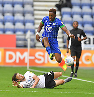 Wigan Athletic's Jamal Lowe is tackled by Fulham's Harry Arter<br /> <br /> Photographer Dave Howarth/CameraSport<br /> <br /> The EFL Sky Bet Championship - Wigan Athletic v Fulham - Wednesday July 22nd 2020 - DW Stadium - Wigan<br /> <br /> World Copyright © 2020 CameraSport. All rights reserved. 43 Linden Ave. Countesthorpe. Leicester. England. LE8 5PG - Tel: +44 (0) 116 277 4147 - admin@camerasport.com - www.camerasport.com