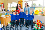 First day of school for junior infants l-r Ryan O'Donoghue, Odhran O'Sullivan, Micheal O'Shea, Conor Bartlett and Luke Bowler at the Raheen NS last Tuesday pictured with class teachers Norissa O'Donoghue and Caroline Kissane.