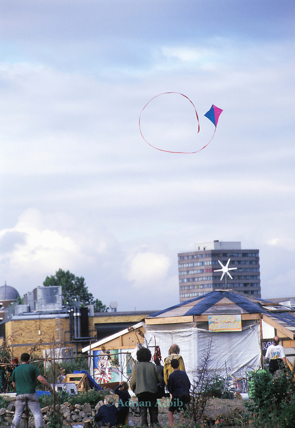A kite flying over the wandsworth Eco village ..Pure Genius- housing protest. The Guiness Site. Wandsworth .