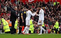 Pictured: (L-R) Angel Rangel, Michu.<br /> Sunday 12 May 2013<br /> Re: Barclay's Premier League, Manchester City FC v Swansea City FC at the Old Trafford Stadium, Manchester.