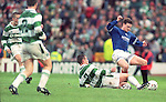 David Robertson tackled by Celtic's Phil O'Donnell, Celtic v Rangers October 1994