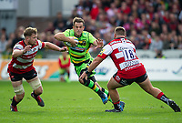 Northampton Saints' Stephen Myler evades the tackle of Gloucester Rugby's Gareth Denman <br /> <br /> Photographer Ashley Western/CameraSport<br /> <br /> Aviva Premiership - Gloucester v Northampton Saints - Saturday 7th October 2017 - Kingsholm Stadium - Gloucester<br /> <br /> World Copyright &copy; 2017 CameraSport. All rights reserved. 43 Linden Ave. Countesthorpe. Leicester. England. LE8 5PG - Tel: +44 (0) 116 277 4147 - admin@camerasport.com - www.camerasport.com
