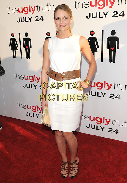 "JENNIFER MORRISON .at The Columbia Pictures' Premiere of ""The Ugly Truth"" held at The Cinerama Dome in Hollywood, California, USA, July 16th 2009.       .full length dress belt waist sleeveless hand on hip white gold earrings dangly brown sandals strappy cut out gold clutch bag .CAP/DVS.©Debbie VanStory/RockinExposures/Capital Pictures"