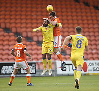 Blackpool's Ben Heneghan jumps with  Bristol Rovers Stefan Payne<br /> <br /> Photographer Mick Walker/CameraSport<br /> <br /> The EFL Sky Bet League One - Blackpool v Bristol Rovers - Saturday 3rd November 2018 - Bloomfield Road - Blackpool<br /> <br /> World Copyright &copy; 2018 CameraSport. All rights reserved. 43 Linden Ave. Countesthorpe. Leicester. England. LE8 5PG - Tel: +44 (0) 116 277 4147 - admin@camerasport.com - www.camerasport.com