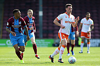 Blackpool's Matty Virtue-Thick gets away from Scunthorpe United's Funso Ojo<br /> <br /> Photographer David Shipman/CameraSport<br /> <br /> The EFL Sky Bet League One - Scunthorpe United v Blackpool - Friday 19th April 2019 - Glanford Park - Scunthorpe<br /> <br /> World Copyright © 2019 CameraSport. All rights reserved. 43 Linden Ave. Countesthorpe. Leicester. England. LE8 5PG - Tel: +44 (0) 116 277 4147 - admin@camerasport.com - www.camerasport.com