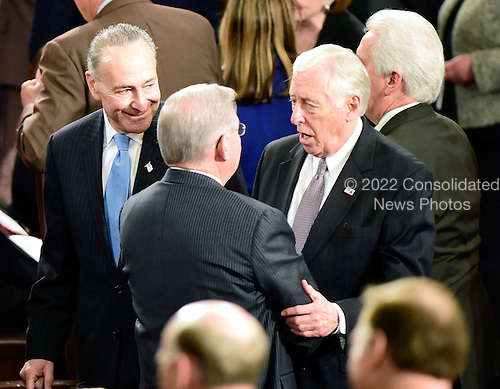 United States Senator Chuck Schumer (Democrat of New York) looks on from left as U.S. Senator Bob Menendez (Democrat of New Jersey), center, and U.S. House Minority Whip Steny Hoyer (Democrat of Maryland) engage in a conversation prior to Prime Minister Benjamin Netanyahu of Israel delivering an address to a joint session of the United States Congress in the U.S. Capitol in Washington, D.C. on Tuesday, March 3, 2015.<br /> Credit: Ron Sachs / CNP<br /> (RESTRICTION: NO New York or New Jersey Newspapers or newspapers within a 75 mile radius of New York City)