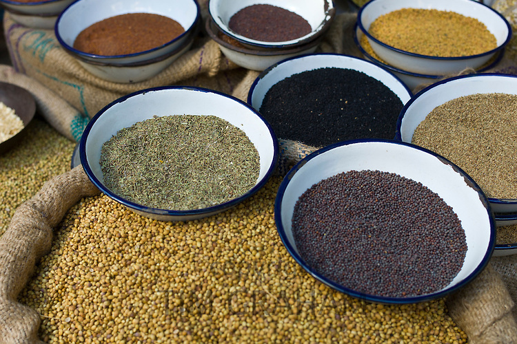 Peppercorns, fenugreek, mustard, coriander at Khari Baoli Spice and Dried Foods Market in Old Delhi, India