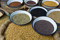 Peppercorns, fenugreek, mustard, coriander at Khari Baoli Spice and Dried Foods Market in Old Delhi, India