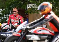 Aug 20, 2016; Brainerd, MN, USA; NHRA pro stock motorcycle rider Matt Smith during qualifying for the Lucas Oil Nationals at Brainerd International Raceway. Mandatory Credit: Mark J. Rebilas-USA TODAY Sports