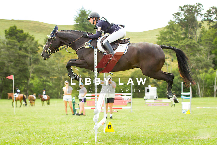 NZL-Samantha Felton (HENTON AFTER DARK)  INTERIM-5TH: TROY WHEELER CONTRACTING CNC2*PLUS: 2014 NZL-Troy Wheeler Contracting Springbush Horse Trial (Saturday 15 February) CREDIT: Libby Law COPYRIGHT: LIBBY LAW PHOTOGRAPHY - NZL