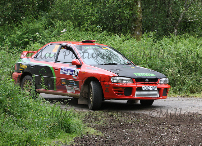 Stuart Paterson - Colin Maxwell at junction 2 on Special Stage 6 Heathhall 2 on the Scottish Rally 2013, Round 3 of the BMSA British Rally Championship, Round 5 of the RAC MSA Scottish Rally Championship sponsored by ARR Craib Transport Limited and Round 7 of the Motoscope Northern Historic Rally Championship which was organised by the Royal Scottish Automobile Club and based at Dumfries on 29.6.13.