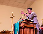 February 10, 2017. Raleigh, North Carolina.<br />  <br /> Rev. Traci Blackmon, the first female pastor of Christ The King UCC in Florissant, Mo, speaks from the podium at a pre-HKONJ service at Rush Metropolitan A.M.E. Zion Church. <br /> <br /> On the evening before the annual HKONJ People's Assembly, a civil rights march tied to the Moral Monday movement, religious leaders from around the country gathered at Rush Metropolitan A.M.E. Zion Church to rally their supporters and speak out against nationwide attacks on civil rights and the Trump administration.<br /> <br /> Jeremy M. Lange for The New York Times