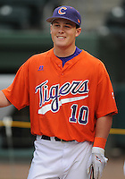 Infielder Mike Dunster (10) of the Clemson Tigers prior to a game against the South Carolina Gamecocks on Tuesday, March 8, 2011, at Fluor Field in Greenville, S.C.  Photo by Tom Priddy / Four Seam Images