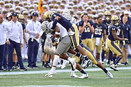 Annapolis, MD - September 8, 2018: Navy Midshipmen safety Sean Williams (6) tackles Memphis Tigers wide receiver Damonte Coxie (10) for no gain during game between Memphis and Navy at  Navy-Marine Corps Memorial Stadium in Annapolis, MD. (Photo by Phillip Peters/Media Images International)