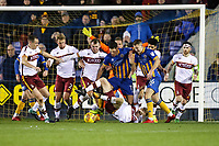 A late scramble as the Bradford City defenders try to clear the ball during the Sky Bet League 1 match between Shrewsbury Town and Bradford City at Greenhous Meadow, Shrewsbury, England on 25 November 2017. Photo by Thomas Gadd.