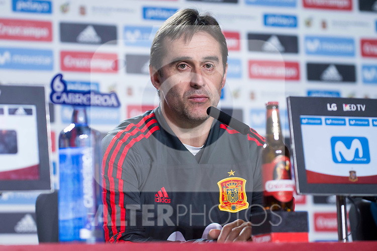 Spain coach Julen Lopetegui during press conference the day before Spain and Argentina match at Wanda Metropolitano in Madrid , Spain. March 26, 2018. (ALTERPHOTOS/Borja B.Hojas)