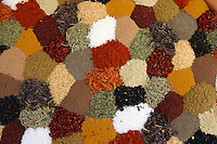 Patchwork sampling of spices arranges for display in the famed Spice Bazaar in Istanbul