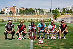 (L-R) Stole Dimitrievski, Alex Galvez, Giannelli Imbula, Tiago Manuel Dias 'Bebe', Raul de Tomas and Alex Alegria during their Official presentation as new players of Rayo Vallecano at Ciudad Deportiva Rayo Vallecano in Madrid, Spain. September 11, 2018. (ALTERPHOTOS/A. Perez Meca)
