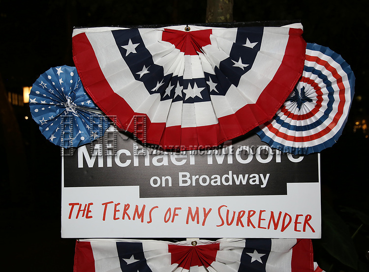 Atmosphere at the Broadway Opening Night - After Party for 'Michael Moore on Broadway - The Terms Of My Surrender' at Bryant Park Grill on August 10, 2017 in New York City.