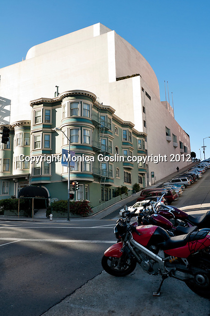 Motorcycles in front of the California Masonic Memorial Temple in San Francisco, California