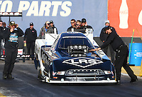Feb 4, 2016; Chandler, AZ, USA; NHRA funny car driver Brian Hough makes a licensing run during pre season testing at Wild Horse Pass Motorsports Park. Mandatory Credit: Mark J. Rebilas-USA TODAY Sports