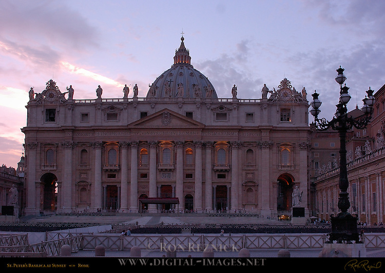 St Peter's in Mauve Light after Sunset St Peter's Basilica Rome