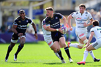Rhys Priestland of Bath Rugby looks to pass the ball. European Rugby Challenge Cup Quarter Final, between Bath Rugby and CA Brive on April 1, 2017 at the Recreation Ground in Bath, England. Photo by: Patrick Khachfe / Onside Images