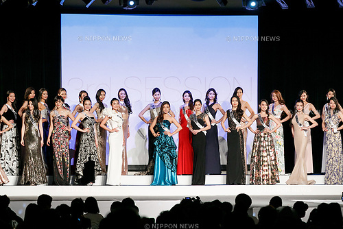 Contestants compete in an evening gown during Miss Universe Japan competition at Hotel Chinzanso Tokyo on July 4, 2017, Tokyo, Japan. Momoko Abe from Chiba who won the title will represent Japan in the next Miss Universe competition. (Photo by Rodrigo Reyes Marin/AFLO)