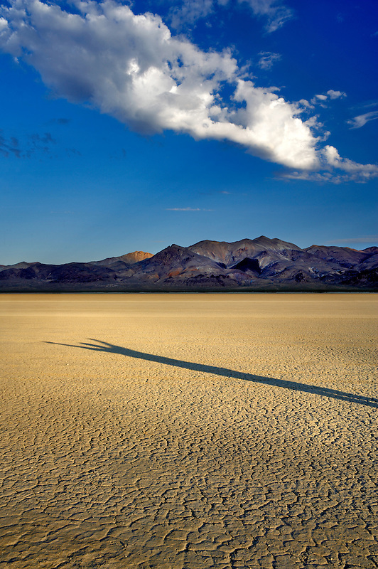 Human shadow on Black Rock Desert National Conservation Area. Nevada