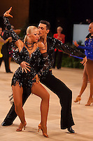 Eldar Dzhafarov and Anna Sazina of Azerbaijan perform their dance during the Amateur Rising Stars Latin event of the UK Open dance competition in the Bournemouth International Centre in Bournemouth, United Kingdom. Tuesday, 22. January 2008. ATTILA VOLGYI
