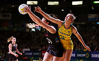 11.10.2017 Silver Ferns Bailey Mes and Australia's Courtney Bruce in action during the Constellation Cup netball match between the Silver Ferns and Australia at Titanium Security Arena in Adelaide. Mandatory Photo Credit ©Michael Bradley.