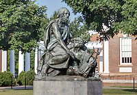 The historical Blind Homer With His Student Guide statue is a bronze sculpture by Moses Jacob Ezekiel located on grounds at the University of Virginia in Charlottesville, Va. Photo/Andrew Shurtleff