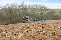 Ploughing winter stubble for spring barley - Lincolnshire, February