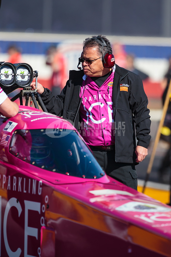 Feb 8, 2019; Pomona, CA, USA; Crew member for NHRA top fuel driver Leah Pritchett during qualifying for the Winternationals at Auto Club Raceway at Pomona. Mandatory Credit: Mark J. Rebilas-USA TODAY Sports