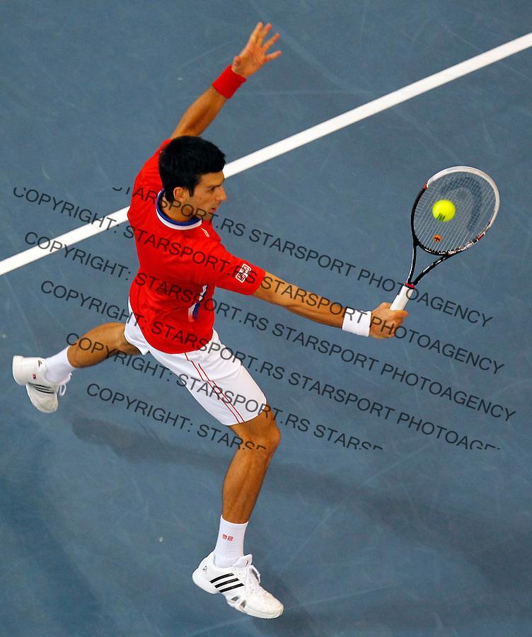 Tennis Tenis<br /> Davis Cup Final 2013<br /> Serbia v Czech republic<br /> Novak Djokovic v Radek Stepanek<br /> Novak Djokovic in action<br /> Beograd, 15.11.2013.<br /> foto: Srdjan Stevanovic/Starsportphoto &copy;