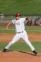 Wisconsin Timber Rattlers pitcher Luke Curtis (28) delivers a pitch during a Midwest League game against the Beloit Snappers on May 30th, 2015 at Fox Cities Stadium in Appleton, Wisconsin. Wisconsin defeated Beloit 5-3 in the completion of a game originally started on May 29th before being suspended by rain with the score tied 3-3 in the sixth inning. (Brad Krause/Four Seam Images)