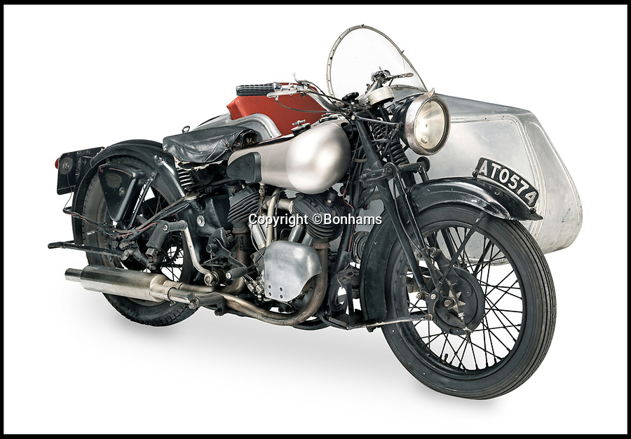BNPS.co.uk (01202)558833Pic:  Bonhams/BNPS<br /> <br /> Don't tell him bike...<br /> <br /> A classic motorcycle and sidecar that appeared in TV's Dad's Army and George & Mildred has sold for over £70,000.<br /> <br /> The 1933 Brough Superior 11-50 belonged to a car dealer for decades who regularly loaned it out to TV production companies.<br /> <br /> It appeared in a classic episode of Dad's Army when it was used by Captain Mainwaring to try and stop and out-of-control exploding wheel.