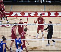 STANFORD, CA - March 2, 2019: Eli Wopat, Stephen Moye, Paul Bischoff, Jaylen Jasper, Kyle Dagostino at Maples Pavilion. The Stanford Cardinal defeated BYU 25-20, 25-20, 22-25, 25-21.