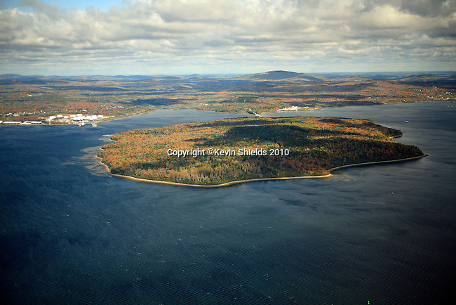 Aerial view of Sears Island, Searsport, Maine, USA