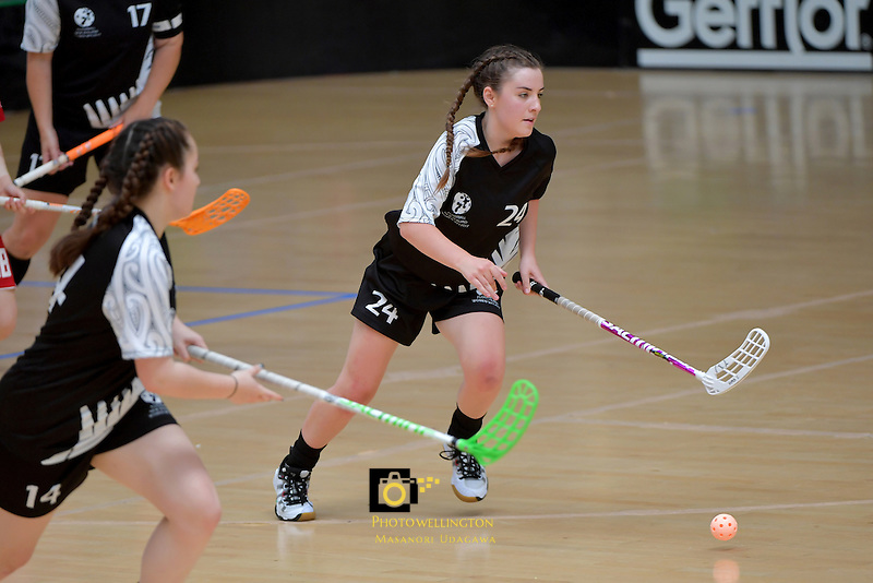New Zealand's Amy Fisher in action during the World Floorball Championships 2017 Qualification for Asia Oceania Region - New Zealand v Korea at ASB Sports Centre , Wellington, New Zealand on Sunday 5 February 2017.<br /> Photo by Masanori Udagawa<br /> www.photowellington.photoshelter.com.