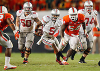 Ohio State Buckeyes quarterback Braxton Miller (5) against Miami Hurricanes during their NCAA college game at Sun Life Stadium in Miami, Fl, September 17, 2011.  (Dispatch photo by Kyle Robertson)
