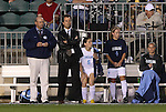 07 November 2008: UNC head coach Anson Dorrance (2nd from left) with assistant coach Bill Palladino (left) and Brittini Bartok (6), Meghan Klingenberg (4), and Ashlyn Harris (right). The University of North Carolina Tarheels defeated Boston College Eagles 2-0  at WakeMed Stadium at WakeMed Soccer Park in Cary, NC in a women's ACC tournament semifinal game.