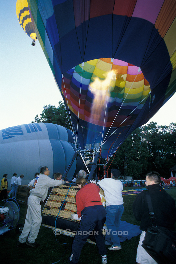 Hot Air Balloon ready To Launch with Burners On